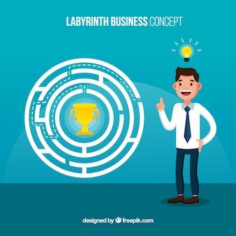 Geschäftskonzept mit flachem labyrinth