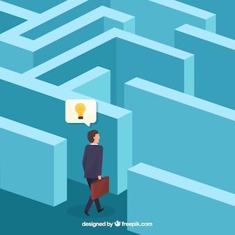 Geschäftskonzept mit isometrischer ansicht des labyrinths