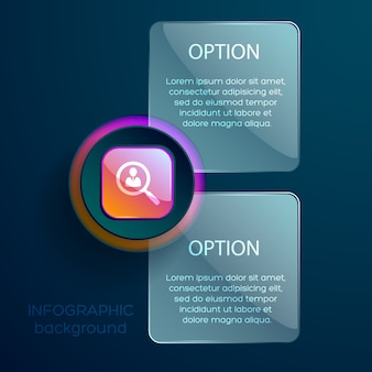 Geschäftskonzept mit sozialem piktogramm des infografik-zoomobjektivs und zwei bearbeitbaren textfeldern