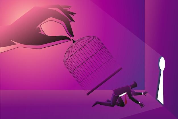 Geschäftskonzept, riesige hand, die einen geschäftsmann mit vogelkäfig einfängt