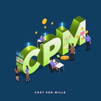 Geschäftskonzept teamwork der menschen arbeiten entwicklung isometrischen cpm
