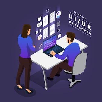 Geschäftskonzept teamwork von menschen, die ui / ux-entwicklung arbeiten
