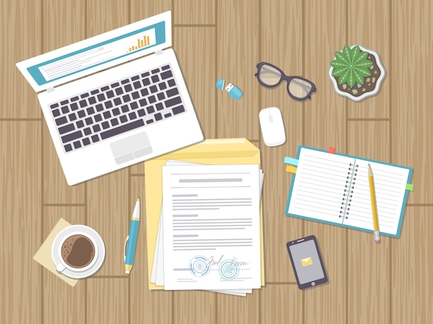 Geschäftskonzept, vereinbarung, strategie, analyse, prüfung. arbeitsplatz, vertragsunterzeichnung. dokumente, laptop, notebook, brille, umschlag, telefon, topf. illustration.