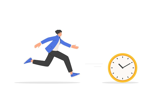 Geschäftskonzept von frist, zeitmanagement, angst vor verspätung. geschäftsmann jagt zeit. der mann rennt der uhr hinterher. vektor-illustration isoliert auf weißem hintergrund