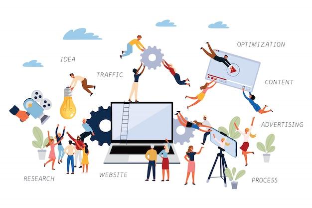 Geschäftskonzept von videomarketing, forschung, prozess, optimierung, werbung, website, verkehr, idee und inhalt.