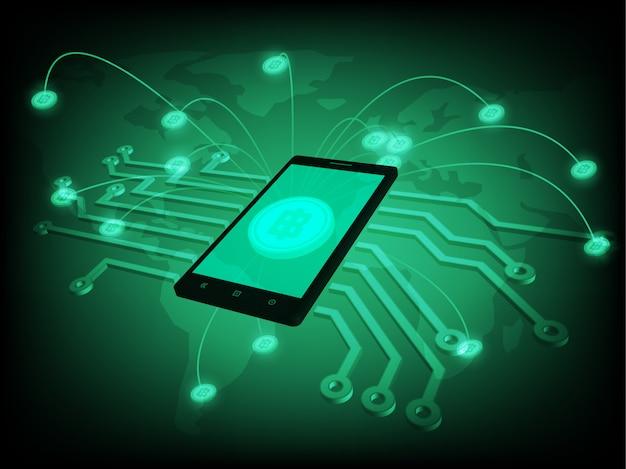 Geschäftskonzepte auf smartphones. die auf der ganzen welt verstreuten münzen wurden auf einem einzigen smartphone gesammelt.