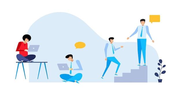 Geschäftskonzepte von unternehmern. flache illustrationskonzepte für webdesign