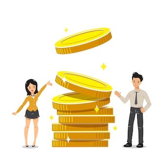 Geschäftskonzeptgeschäftsmann und -geschäftsfrau mit großem münzenstapel