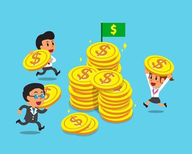 Geschäftskonzeptgeschäftsteam mit großen münzen