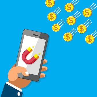 Geschäftskonzepthand unter verwendung des smartphone