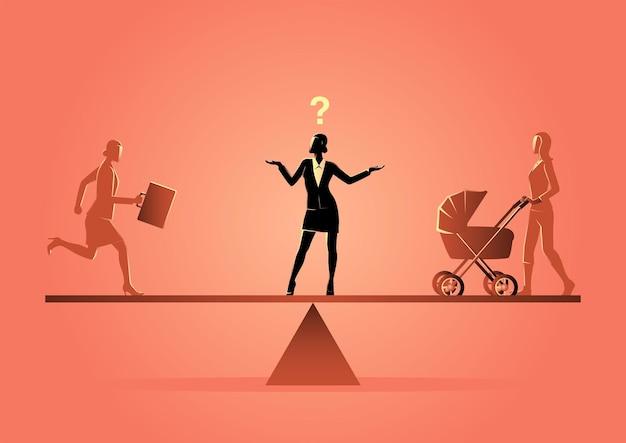 Geschäftskonzeptillustration einer geschäftsfrau, die auf einer skala steht und karriere oder familie wählt