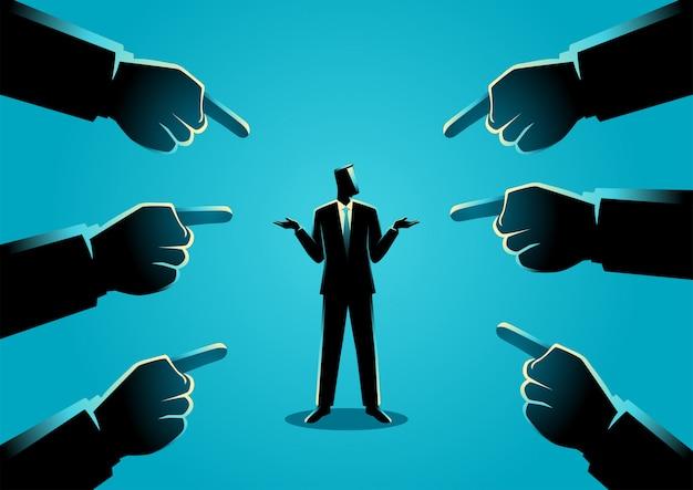 Geschäftskonzeptillustration eines geschäftsmannes, der durch riesige finger gezeigt wird