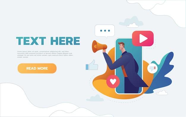 Geschäftskonzeptillustration eines geschäftsmannes, der ein megaphon hält, das vom smartphone durchkommt. digitales marketing, kommunikation, werbekonzept.