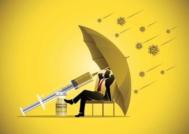 Geschäftskonzeptillustration eines geschäftsmannes, der unter einem regenschirm mit dem covid-19-coronavirus herum sitzt