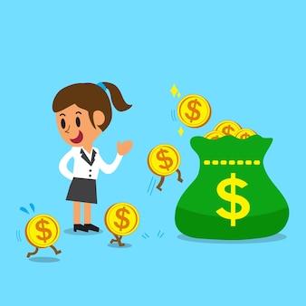 Geschäftskonzeptkarikaturgeschäftsfrau, die geld verdient