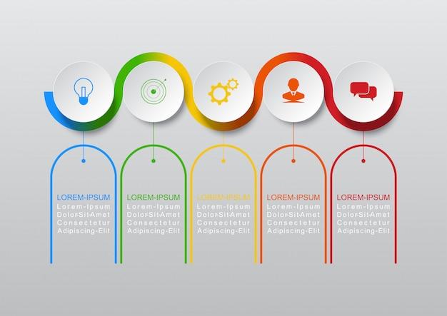 Geschäftskonzeptschritte oder -prozesse des infographic-designvektors können für arbeitsflussplan, diagramm, jahresbericht, webdesign benutzt werden
