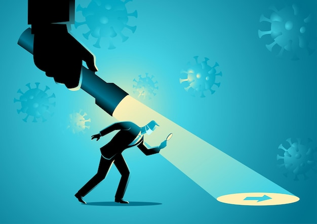 Geschäftskonzeptvektorillustration eines geschäftsmannes, der durch eine hand geführt wird, die eine taschenlampe hält, die pfeilzeichen während der pandemie aufdeckt