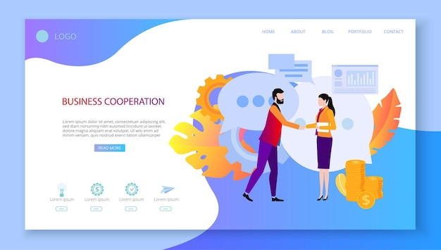 Geschäftskooperation menschen treffen vereinbarte arbeit zusammen interagieren suchen nach geschäftspartnern und investoren präsentation landingpage