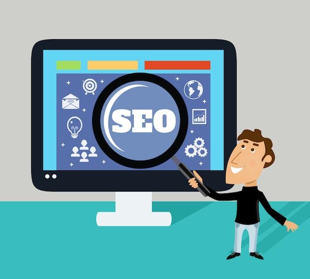 Geschäftslebenangestellter mit vergrößerungsglas und großem monitor seo-konzept vector illustration