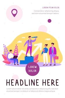 Geschäftsleiter und sein team flache illustration