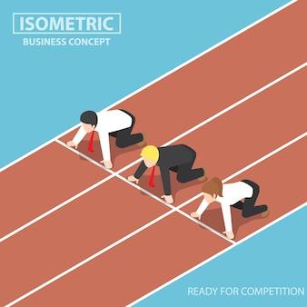 Geschäftsleute an der startlinie der rennstrecke und rennbereit, geschäftswettbewerbskonzept