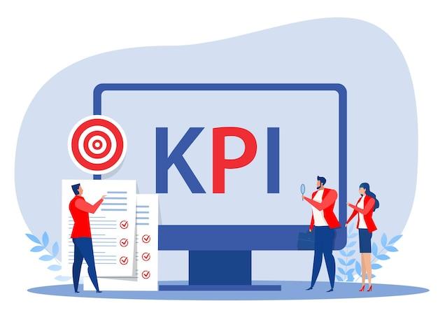 Geschäftsleute-analyst kpi-organisation mit schlüsselleistungsindikator-wortbeschriftungstypografie