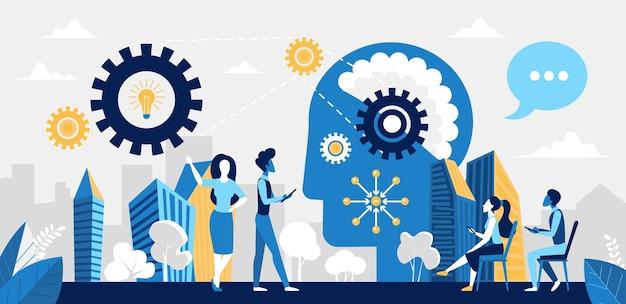 Geschäftsleute arbeiten an der illustration neuer ideen.