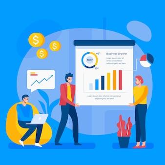 Geschäftsleute arbeiten illustriertes konzept