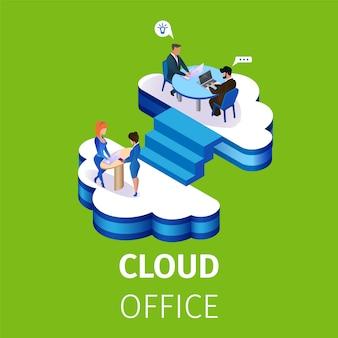 Geschäftsleute arbeiten im mehrstöckigen wolken-büro