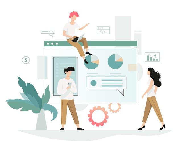 Geschäftsleute arbeiten im team. kreative und erfolgreiche teamarbeit. erfolgssymbol und finanzindustrie. arbeiten sie mit daten und finanzoperationen. illustration