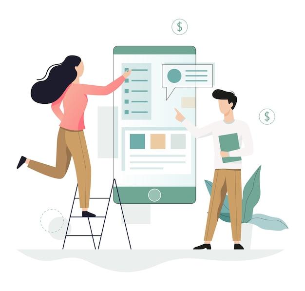 Geschäftsleute arbeiten im team. kreative und erfolgreiche teamarbeit. erfolgssymbol und finanzindustrie. arbeiten sie mit daten und finanzoperationen. illustration Premium Vektoren