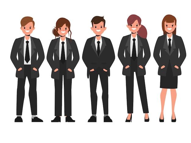 Geschäftsleute arbeiten in einheitlicher schwarzer anzugkleidung zusammen