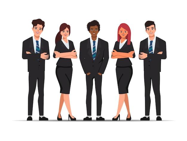 Geschäftsleute arbeiten in schwarzen anzugkleidern zusammen.