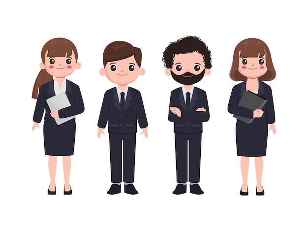 Geschäftsleute arbeiten in schwarzen anzugkleidern zusammen