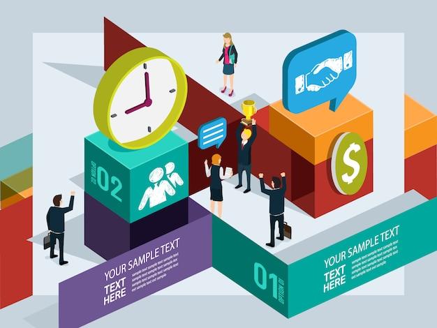 Geschäftsleute arbeiten mit info-grafikkonzept