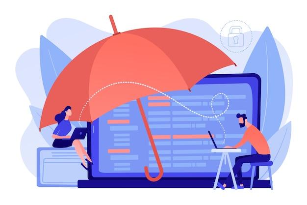 Geschäftsleute arbeiten mit laptops, die vor internetbasierten risiken geschützt sind. cyber-versicherung, cyber-versicherungsmarkt, konzept zum schutz vor cyberkriminalität. isolierte illustration des rosa korallenblauvektors