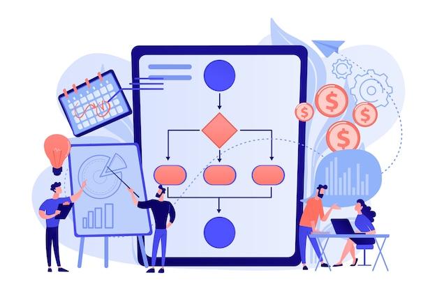 Geschäftsleute arbeiten mit verbesserungsdiagrammen und -diagrammen. geschäftsprozessmanagement, visualisierung von geschäftsprozessen, illustration des konzepts der it-geschäftsanalyse