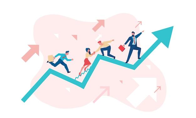 Geschäftsleute arbeiten sich den verkaufsplan hoch