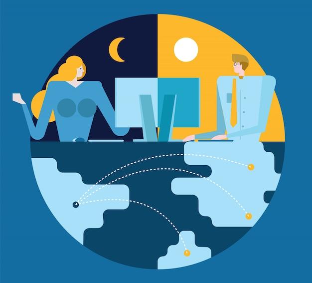 Geschäftsleute arbeiten und kommunikation über verschiedene zeitzonen. weltweites verbindungskonzept