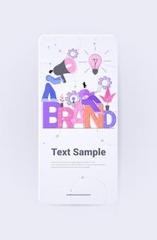 Geschäftsleute arbeitgeber arbeiten an branding design marke