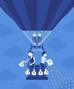 Geschäftsleute auf heißluftballon investieren geld für zukünftigen gewinn. geschäftsmann und geschäftsfrau geben viel aus, um vermögen, vermögen, um einkommen und kapital zu erzeugen. vektorillustration, gesichtslose charaktere
