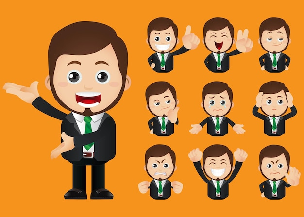 Geschäftsleute ausdrücke mit verschiedenen gesichtern