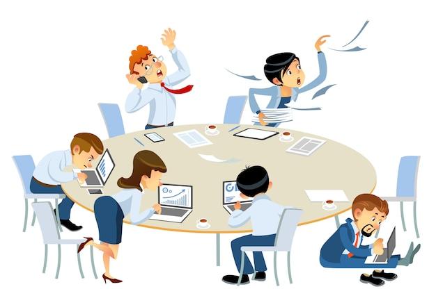 Geschäftsleute beeilen sich, um das projekt zu beenden. gestresstes büropersonal, das in eile arbeitet. geschäftsproblem, fristkonzeptkarikaturartillustration lokalisiert auf weißem hintergrund