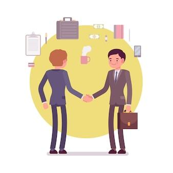 Geschäftsleute begrüßen händeschütteln