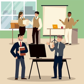 Geschäftsleute bei der arbeit mit teamarbeit, büroangestellte