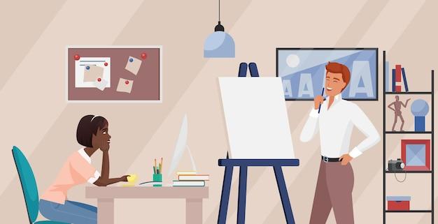 Geschäftsleute bei der präsentation einer neuen geschäftsidee im büro während eines meetings oder einer schulung