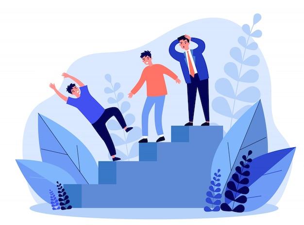 Geschäftsleute beobachten kollegen, die von der treppe fallen