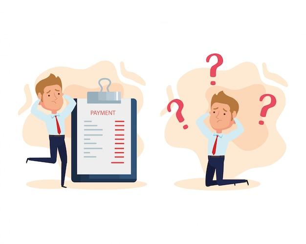 Geschäftsleute besorgt mit zwischenablage dokument