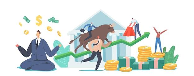 Geschäftsleute broker oder trader charaktere analysieren globale fonds- und finanznachrichten für den kauf und verkauf von anleihen bei steigenden kursen. menschen, die an der bullenbörse handeln. cartoon-vektor-illustration