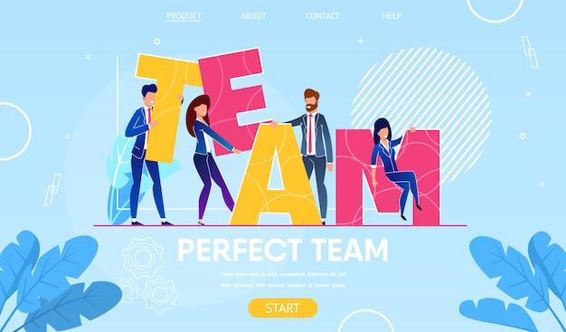 Geschäftsleute charaktere, die wort-team aufbauen.